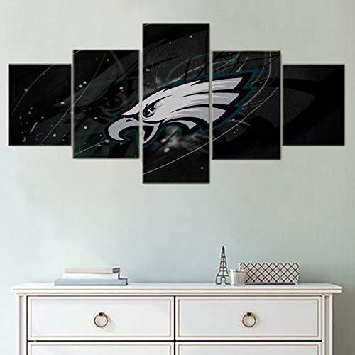(Black and White Wall Art Philadelphia Eagles Paintings American Football Pictures NFL Artwork 5 Piece Canvas Home Decor for Living Room Framed Gallery-wrapped Stretched Ready to Hang(50''Wx24''H))