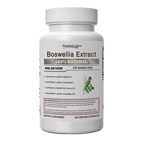 Superior Labs Boswellia Extract - Pure NonGMO Boswellic 65% Acids w/Bioperine Superior Absorption Zero Synthetic Additives - Powerful Formula Joint, Knees, Hips, Migraine, Immune, 500mg SVG, 240 Veg ()