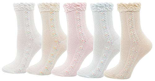 Fancy Lace Trim - Lovful 5 Pack Lace Ruffle Frilly Floral Elastic Socks Womens Spring Colorful Breathable Casual Socks, Floral Style