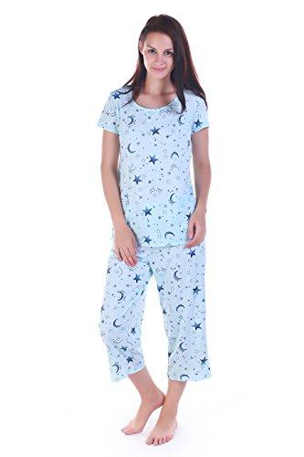 Amoy madrola Women Cotton Sleepwear Short Sets Pajamas Set SY215-Blue Star- 131af91e3