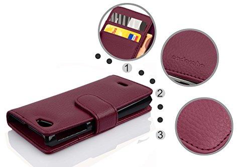 Cadorabo - Funda Sony Xperia J Book Style de Cuero Sintético en Diseño Libro - Etui Case Cover Carcasa Caja Protección con Tarjetero en NEGRO-ÓXIDO BURDEOS-VIOLETA