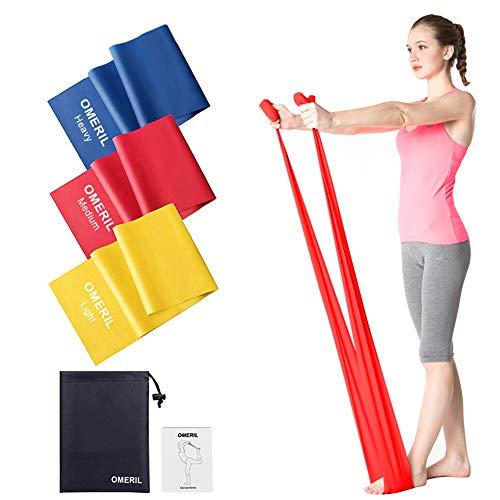 41uf4F48IGL. SS500 ? Bandas Elasticas Fitness - 3 piezas de 1.5M. Las cintas elasticas fitness de alta calidad te ayudarán a lograr de manera efectiva la extensión de todo el cuerpo y mejorar el ejercicio en las piernas, cadera, cintura, brazos, espalda, etc. Perfecto para yoga, pilates, entrenamiento de estiramiento, crossfit, pérdida de peso, fisioterapia y recuperación ? 3 Niveles de Resistencia - Las bandas resistencia con 3 colores representan 3 niveles de resistencia diferentes: Amarillo (Ligero / 0.35mm / 15 lbs), Rojo (Medio / 0.45mm / 20 lbs), Azul (Heavy / 0.55mm / 25 lbs). Simplemente ajuste los niveles de resistencia a los diferentes músculos durante su entrenamiento, dependiendo de su fuerza, habilidad y comodidad. ? Fuerza y Entrenador de Flexibilidad - Estas bandas elásticas proporcionan un entrenamiento seguro y eficaz. Le permite controlar la tensión muscular en múltiples direcciones y fortalecer cada músculo y articulación. Ideal para mejorar la flexibilidad, la postura y la fuerza del núcleo.
