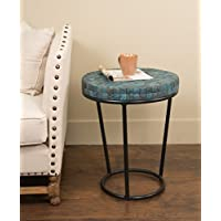 East at Main Old Yorkshire Round End Table w/Iron Legs- Deep Teal, (20x20x24)
