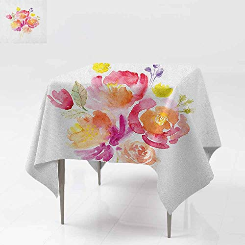 - SONGDAYONE Durable Square Tablecloth Pastel Watercolor Bouquet of Roses Romantic Artistic Corsage Design Bridal Wedding Flora Daily use Multicolor W63 xL63