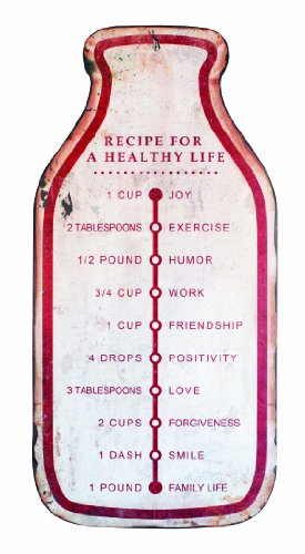 Creative Co-op Recipe for a Healthy Life Wall Plaque, 23-Inch