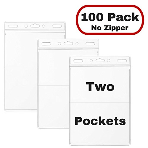 MIFFLIN Name Badge Holder (100 Pack) Two Pocket Large Conference Trade Show ID Badge Holders, Quick Load (No Zipper) Vinyl Tag Holder Top Load
