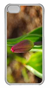 Customized iphone 5C PC Transparent Case - Early Spring Tulip Personalized Cover