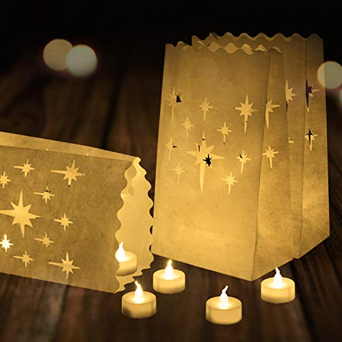 - Homemory Flameless Tealights + Bonus Luminary Bag Set, 24 Battery Operated LED Tea Lights & 12 Star Luminary Bags, Fake Candles with Realistic Flame, 100+Hours of Safe LED Flameless Candlelight