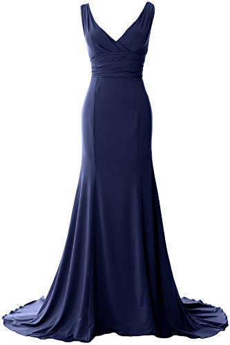 Gown Dress MACloth Mermaid Simple Dunkelmarine Evening Jersey Elegant Formal Neck Prom V YqwvCOY