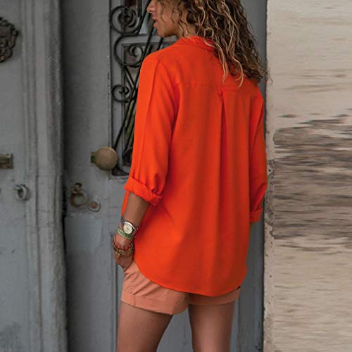 Manches Chemisier Chic Loose Mousseline Longues Soie Tops Poche OL Orange De Shirt en Casual Tops Blouse Dames Femmes Femme Orange vwpRqXx