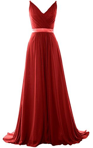 MACloth Women V Neck Mid Open Back Long Bridesmaid Dress Formal Evening Gown Burgundy