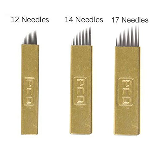 EZTAT2 50Pcs PCD Microblading Needles for Permanent Makeup Supplies Manual Eyebrow Blades Mixed 12 14 17 Pin