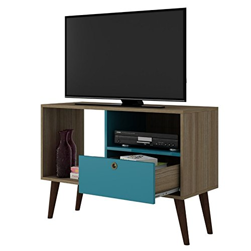 - Manhattan Comfort Bromma Collection Mid Century Modern TV Stand With Open Cubby Space and One Drawer With Splayed Legs, Wood/Teal