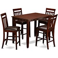 East West Furniture BUEW5-MAH-LC 5-Piece Counter Height Dining Table Set, Mahogany Finish