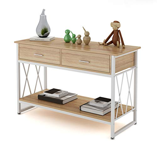 Console Table Sofa Table with Two Drawers and Shelf for Entryway Living Room Hallway