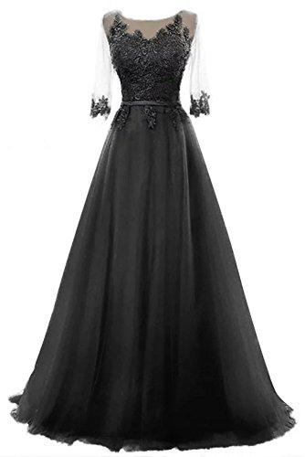 Schnuerung langes Party Damen Abendkleid Black kleid Prinzessin brautjungfer Tuell A Cocktail Linie Ballkleid Vickyben wtInqP4Hx4
