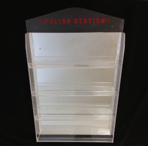 4 Row Clear Acrylic Nail Polish Station Wall Rack Display with Mirror Reflection and Sign - Holds up to 32 Bottles Tier Mirror Display