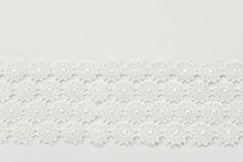 """GoodGram Ultra Luxurious Textured Macrame Trim Fabric Tablecloth Assorted Sizes & Colors - White, 60"""" x 90"""" Rectangle (6-8 Chair) - Whats Included: 1 Tablecloth Assorted Sizes & Colors Heavyweight Macrame Trim **White color may appear Off White/Ivory in certain lighting** - tablecloths, kitchen-dining-room-table-linens, kitchen-dining-room - 41uf79 nTNL -"""