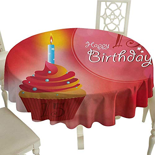 cobeDecor Elegance Engineered Tablecloth 15th Birthday Yummy Graphic Style Cupcake with Candlestick Stars Warm Ceremony D60 Red Orange and Blue