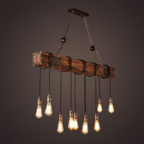 Rustic Wood Beam Edison Hanging Ceiling Light ,Natural Reclaimed Wooden Style Pendant Lighting E26x10 Lights Retro Industrial Style Chandeliers for Bar Kitchen Dining Room by Eoyemin (Image #1)