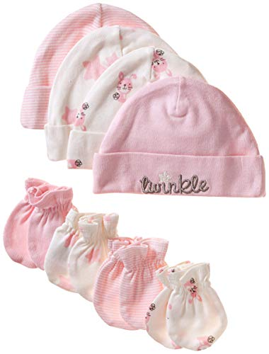 Mitten 3 Piece Set (Gerber Baby Girls' 8-Piece Organic Cap and Mitten Set, Bunny, 0-6 Months)