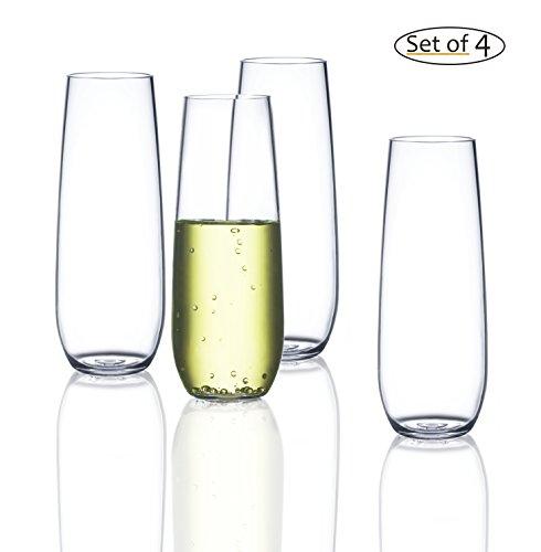 FDCuvée Drama Free Unbreakable Stemless Champagne Flute 100% Tritan | Dishwasher safe - 8 oz | Set of 4 (Herbal Wine Merlot)