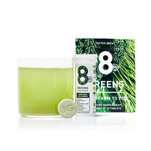 - 8Greens Effervescent Super Greens Dietary Supplement - 8 Essential Healthy Real Greens in 1-60 Tablets (6 Tubes)