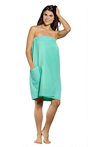 (Turquaz Linen Lightweight Knee Length Spa/Bath Waffle Body Wrap with Adjustable Hook-and-Loop Tape (Large, Mint Green))