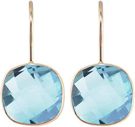 Aurex 15.02 Carat Briolette Cushion Shape Natural Gemstone 14k Yellow Gold French Wire Hoop Earrings for Women and Girls