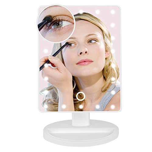Makeup Mirror, BEW Lighted Vanity Mirror with 22 LED lights & Touch Screen Dimming and Detachable 10x Magnifying Spot Mirror Portable Cosmetic Mirror, Valentine's Day Gift (White) by BEW