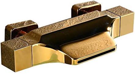 浴槽の蛇口 バスタブ蛇口滝スパウトタブ温水と冷水のシャワーの蛇口 (色 : Gold, Size : Free size)