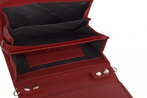 Cartera del bolso mujer de mano PIERRE CARDIN rojo cuero con abertura metálica