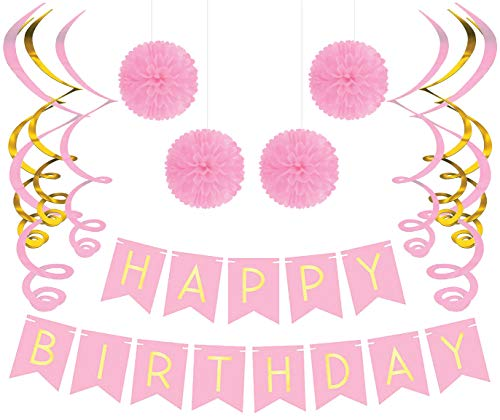 Sterling James Co. Birthday Party Pack - Pastel Pink Happy Birthday Bunting, Poms, and Swirls Pack- Birthday Decorations - 21st - 30th - 40th - 50th Birthday Party Supplies