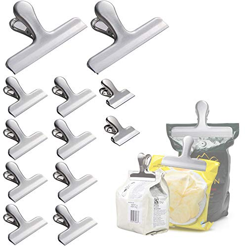 12 Pcs Stainless Steel Heavy-Duty Food Coffee Bread Bag Clips for Air Tight Seal Grip Clips Kitchen Office ()