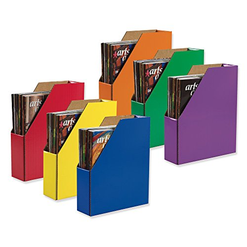 Classroom Keepers Magazine Holders, Assorted Colors,  12-3/8H x 3-1/8W x 10-1/4D, 6 Pieces