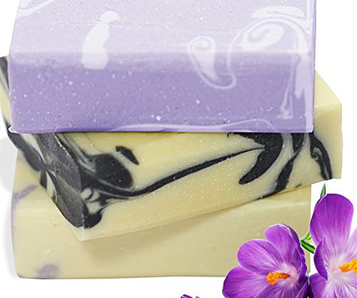 ORGANIC HANDMADE SOAP GIFT SET -Scented w/ 100% Pure Essential Oils - 3 Full Size Bars - Comes Boxed, Gift Wrapped in Cellophane w/Satin Bow & Floral Embellishment (Scented Bath Soap)