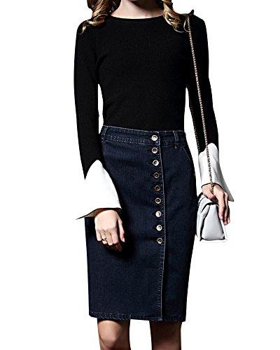 Kasen Femme Denim Jupe Jeans Stretch d't Retro Mini-Jupe Taille Haute Court Jupe Bleu Gris