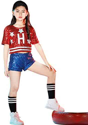89971d1462ba LOLANTA Girls Sequins Jazz Dance Costume Kids Hiphop Dancewear Children Pop  Dance Outfit