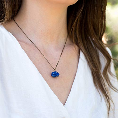 Chunky lapis lazuli nugget crystal pendant necklace in bronze - 18