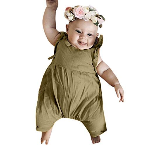 Emimarol Infant Toddler Baby Girl Cotton Romper Solid Sleeveless Ruffle Short Pants Jumpsuit Overall Outfit Clothes Khaki]()