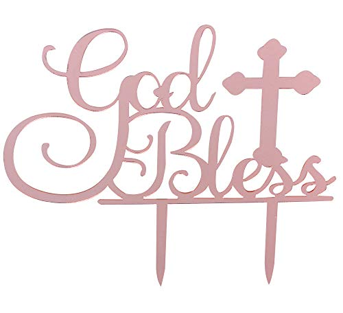 Rose Gold God Bless Cake Topper for Baptism Christening Dedication or First Communion Baby Shower Decoration Supplies Acrylic Sign Decor]()
