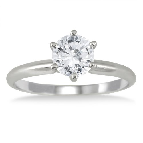 AGS Certified 3/4 Carat Round Diamond Solitaire Ring in 14K White Gold (I-J Color, I2-I3 Clarity)