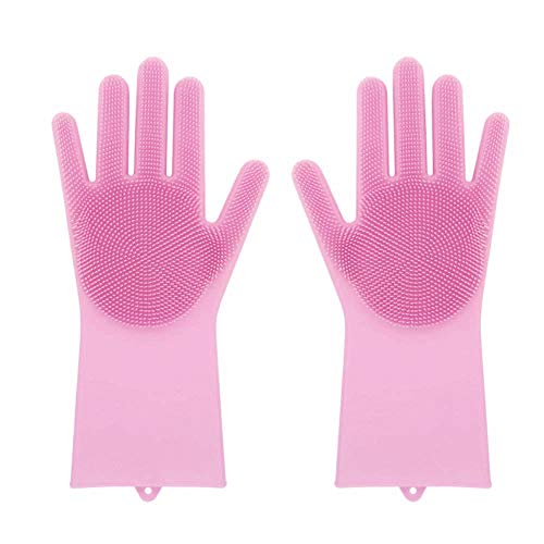 Hmlai Magic Reusable Silicone Cleaning Brush Scrubber Gloves for Home Garden Kitchen Dish Washing,Heat Resistant (Pink) from Hmlai