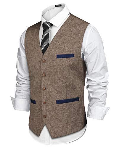 COOFANDY Men's Casual Suit Vest Slim Fit V-Neck Dress Vest Waistcoat Fashion Prom Wedding Vest Khaki]()