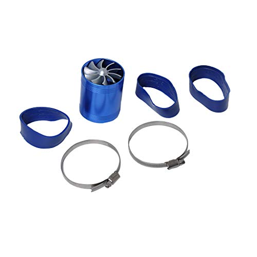 perfk Blue Supercharger Power Air Intake Turbonator Dual Fan Turbine Gas Fuel Saver Turbo: