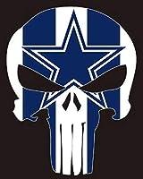 "Kramer sticker's shop Set of 2 Punisher Dallas Cowboys Vinyl Stickers Skull 5""x4"" Car Truck Auto Logo Dallas Cowboys Window Decal"