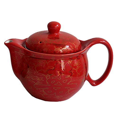 Chinese Tranditional Wedding Red Double Happiness Porcelain Teapot by Oriental-beauty