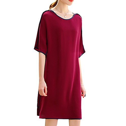 Kleid Rot Abendkleid Long Übergröße Flowered Knee Cocktail Damen Seide DISSA S9937 Kleider 8Aqap1