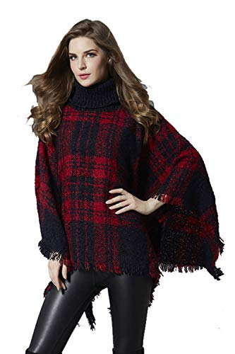 Womens Boho Loose Tassel Plaid Poncho Turtleneck Jumper Knit Oversized Pullover Sweater Tops for Women Dress Ponchos Free Size Wine Red (Cashmere Top Knit)