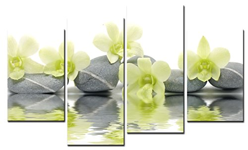 SmartWallArt - Spa Paintings Wall Art Spa with Green Orchid Single WidthPicture Print on Canvas for Modern Home Decoration